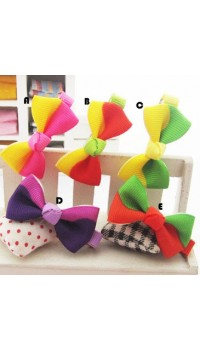 Clippies - Printed Colorful Ribbon Bow Clippies - Jasmine (1 pair)