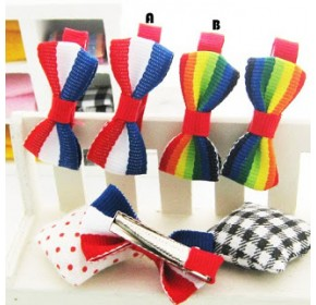 Clippies - Printed Colorful Ribbon Bow Clippies - Doreen (1 pair)