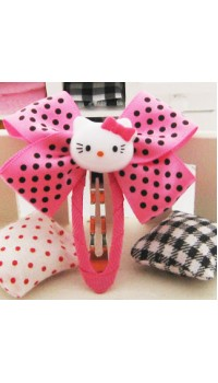 Clippies - Double Ribbon Snap Clips - Pink Hello Kitty (1 pair)