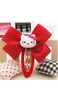 Clippies - Double Ribbon Snap Clips - Red Hello Kitty (1 pair)