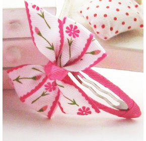 Clippies - Double Ribbon Snap Clips - Bernice (1 pair)