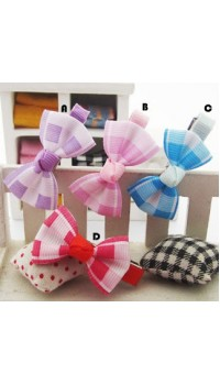 Clippies - Printed Colorful Ribbon Bow Clippies - Amanda (1 pair)