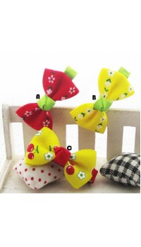 Clippies - Printed Colorful Ribbon Bow Clippies - Branda (1 pair)