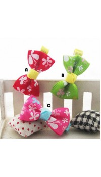 Clippies - Printed Colorful Ribbon Bow Clippies - Cynthia (1 pair)