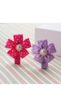Clippies - Polka Dot Ribbon Flower with Pearl  - Cassandra (1 pair)