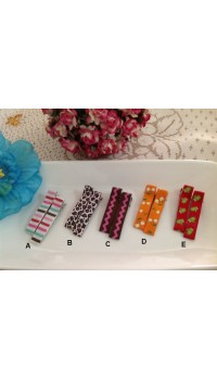 Clippies - Korean Handmade Printed Colorful Ribbon Clippies - Bonnie (1 pair)