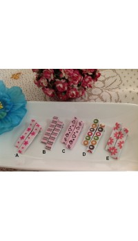 Clippies - Korean Handmade Printed Colorful Ribbon Clippies - Jessie (1 pair)