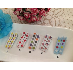 Clippies - Korean Handmade Printed Colorful Ribbon Clippies - Celine (1 pair)