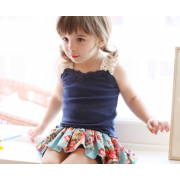 Korean Girl Fitting Sleeveless Top with Skirt Pant - Navy (5Y, 6Y)