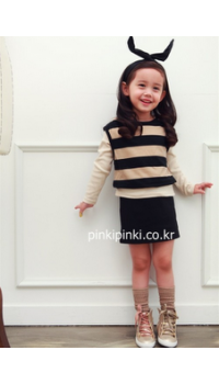 Korean Girl Long Sleeved One Piece Dress - Black and Beige Stripe (3Y, 4Y, 5Y, 6Y, 7Y)