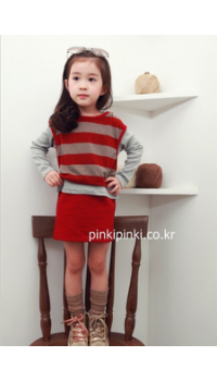 Korean Girl Long Sleeved One Piece Dress - Red and Grey Stripe (3Y, 4Y, 5Y, 6Y, 7Y)