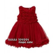 Magic Cube Notti Peppi - 3D Rosette Mesh Dress - DARK RED (1Y, 3Y, 4Y, 5Y, 6Y)