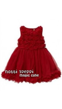 Magic Cube Notti Peppi - 3D Rosette Mesh Dress - DARK RED (3Y, 4Y, 5Y, 6Y)