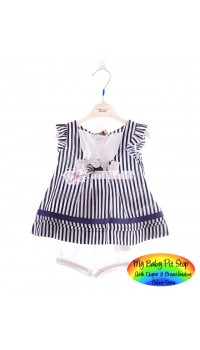 Amissa Girls Blue Flower Strip 2pc set (3Y)