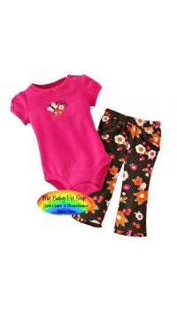 Carter's Girlz Grandma Loves Me Bodysuit & Floral Print Pants (24M)
