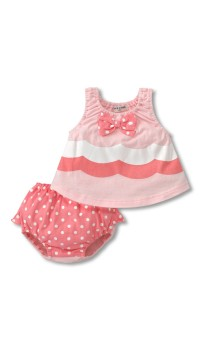 Doomagic Lil Girls Wave Print w/Polka Dots 2pc Set - Pink (36M)