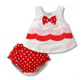 Doomagic Lil Girls Wave Print w/Polka Dots 2pc Set - RED (12M, 24M)