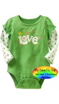 GAP Longsleeves Bodysuite - Green Love (3M, 18M)