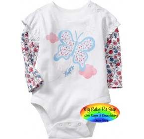 GAP Longsleeves Bodysuite - White Butterfly (18M)