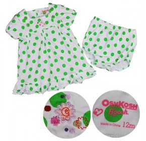 Osh Kosh Polka Dot Dress - Green (6M, 12M)