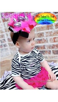 Doomagic Girls Zebra Print Bodysuit w/Attached Fuschia Tutu (3Y)
