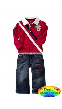 Gap Boyz 2pc - Red Long Sleeves Tee and Jeans (1Y)
