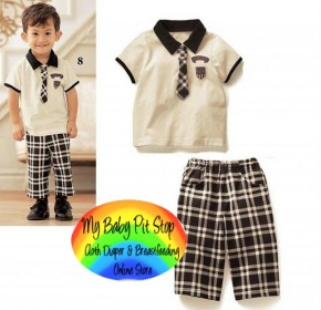 Spunky Kids Boyz Tee with Tie + Checks Shorts set (3Y)