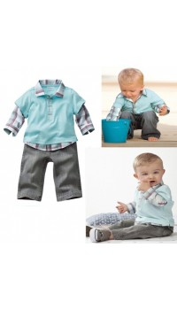Korean Smart Boyz LongSleve with Checks Collar (w/Long Pants) (6Y)