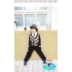 Korean Cikicoko Boys Mock Layer Plaid Top w/Long Pants (5Y, 6Y, 7Y)