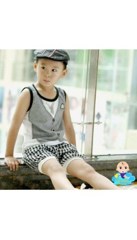 Korean Boys Mock Vest Sleeveless Tee w/Pants (2Y)