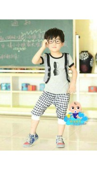 "Korean Boys Mock Vest ""Sunnies"" Tee w/Pants set (3Y)"