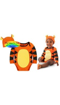 Disney Little Boyz Tigger Bodysuit + Beanie Hat Costume (1Y, 2Y, 3Y)