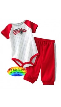 Carter's Boyz Home Run Hero Bodysuit & Red Pants set (12M, 18M, 24M)