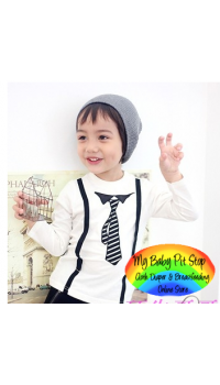 Korean Smart Boyz LongSleve with Fake Tie (2Y, 3Y, 5Y)