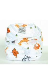 Autumnz - One Size Velcro Diaper -Safari White