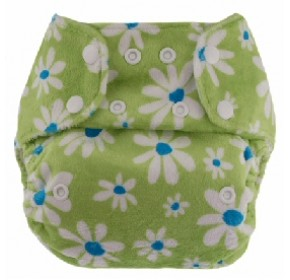 Blueberry Minky One Size - Spring Daisy in Bamboo Velour (Blueberry Combo Inserts)