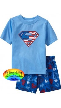 GAP Sleepware Boys 2pc set - Superman Shorts (2Y)