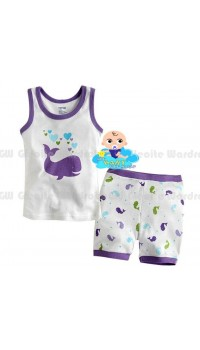 GW Sleepware 2pc set - Purple Whale (2Y, 4Y, 6Y, 7Y)