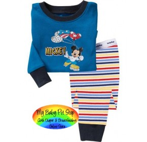 GAP Sleepware Boys 2pc set - Mickey Mouse Strip Pants (5Y)