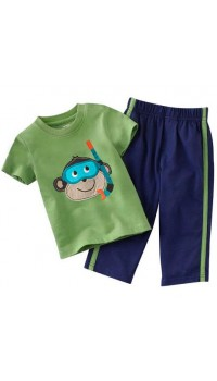 Carter's Embroidery 2 pc Set - Snorkeling Monkey (2Y, 3Y, 4Y)