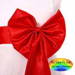 George - Girls' Party Dress with Red Ribbon Sash (4Y)