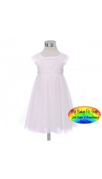 ZARA Girls Off White Crocheted Tulle Dress (2Y)