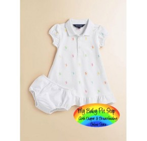 Ralph Lauren Dress with matching Panties - White (2Y, 3Y)