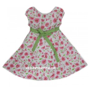 Summer Sleeveless Flower Dress (removable belt) (4Y)