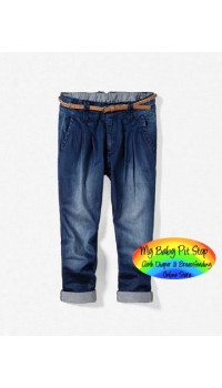 Zara Denim Chino Trouses with Belt (2Y, 3Y, 4Y)