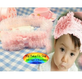 Baby Headband - Korean Ruffle Lace Bow Elastic Headband