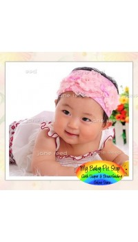 Baby Headband - Korean Ruffle Lace Bow Elastic Headband - Pink Flower