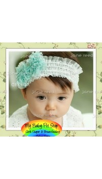 Baby Headband - Korean Ruffle Lace Bow Elastic Headband - Lime Green