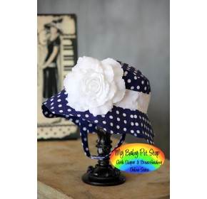 Doomagic Girls Sunhat - Blue Polka Dot