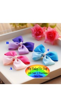 Clippies - Korean 2-Colored Satin Ribbon Bow Clippies (1pair)